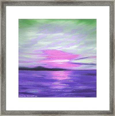 Green Skies And Purple Seas Sunset Framed Print by Gina De Gorna