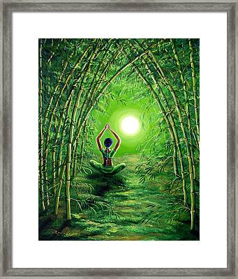 Green Tara In The Hall Of Bamboo Framed Print by Laura Iverson