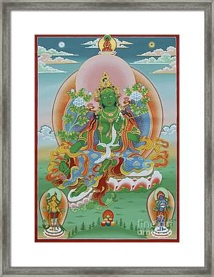 Green Tara With Retinue Framed Print by Sergey Noskov