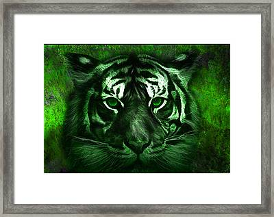 Green Tiger Framed Print by Michael Cleere
