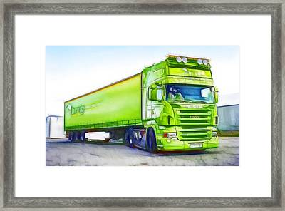 Green Truck Framed Print by Lanjee Chee