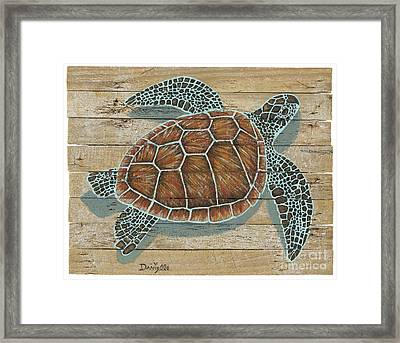 Green Turtle On Lobster Trap Wood  Framed Print by Danielle Perry