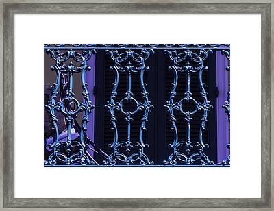 Green Wrought Iron Railing Framed Print by Garry Gay