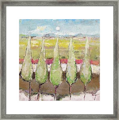 Greeting The Early Moon Framed Print by Becky Kim