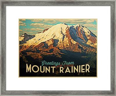 Greetings From Mount Rainier Framed Print by Flo Karp