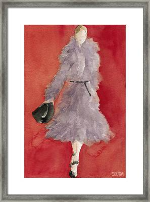 Grey Coat - Watercolor Fashion Illustration Framed Print by Beverly Brown Prints