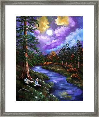 Grey Wolf Warrior Meditation Framed Print by Laura Iverson