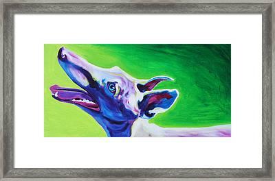 Greyhound - Emerald Framed Print by Alicia VanNoy Call