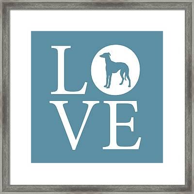 Greyhound Love Framed Print by Nancy Ingersoll