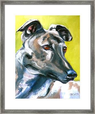 Greyhound Framed Print by Susan A Becker