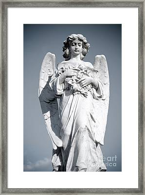 Grieving Angel On The Old Graveyard Framed Print by Yurix Sardinelly