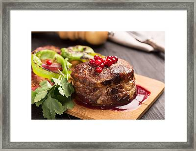 Grilled Steak Meat On The Wooden Surface Framed Print by Vadim Goodwill