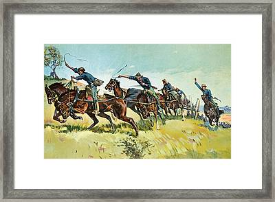 Grimes's Battery Going Up El Pozo Hill Framed Print by Frederic Remington