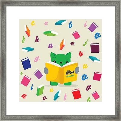 Grinchy And Books Framed Print by Seedys