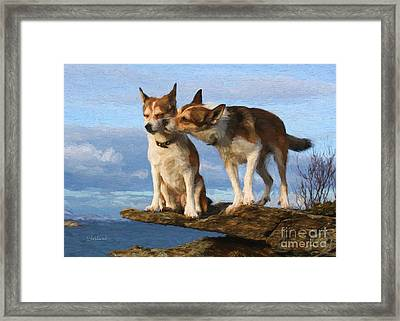 Grooming Dogs Framed Print by Garland Johnson