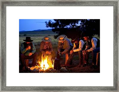 Group Of Cowboys Around A Campfire Framed Print by Richard Wear