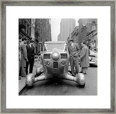 Group Of Men Looking At Futuristic Car (b&w) Framed Print by Hulton Archive