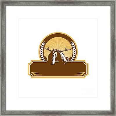 Growler Clothesline Picket Fence Circle Woodcut Framed Print by Aloysius Patrimonio