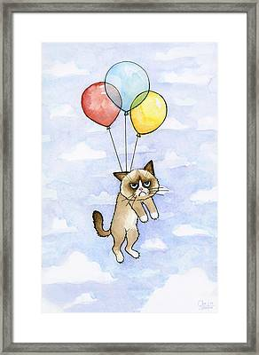 Grumpy Cat And Balloons Framed Print by Olga Shvartsur