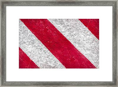 Grunge Background Of Red And White Stripes  Framed Print by Germano Poli