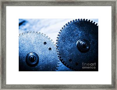 Grunge Gear Cog Wheels Framed Print by Michal Bednarek