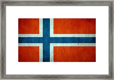 Grunge Norway Flag Framed Print by Dan Sproul