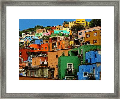 Guanajuato Hillside 1 Framed Print by Mexicolors Art Photography