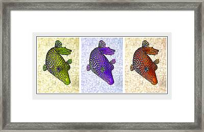 Guinea Fowl Puffer Fish Triptych Framed Print by Bill Caldwell -        ABeautifulSky Photography