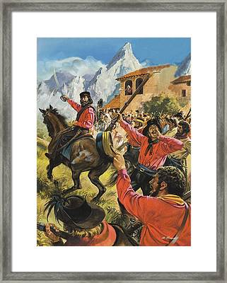 Guiseppe Garibaldi And His Army In The Battle With The Neopolitan Royal Troops Framed Print by Andrew Howat