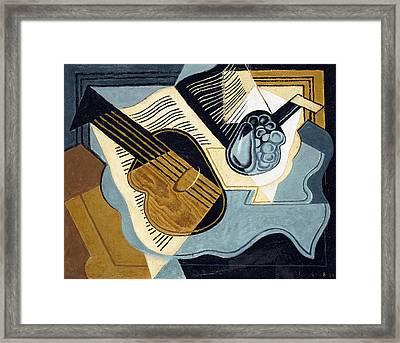Guitar And Fruit Bowl Framed Print by Juan Gris