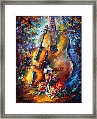Guitar And Violin Framed Print by Leonid Afremov