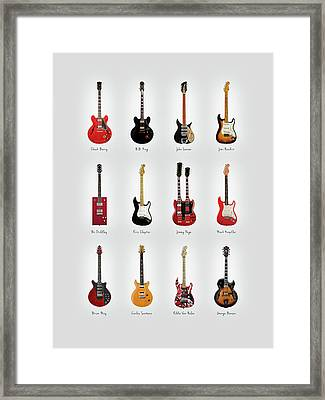Guitar Icons No1 Framed Print by Mark Rogan