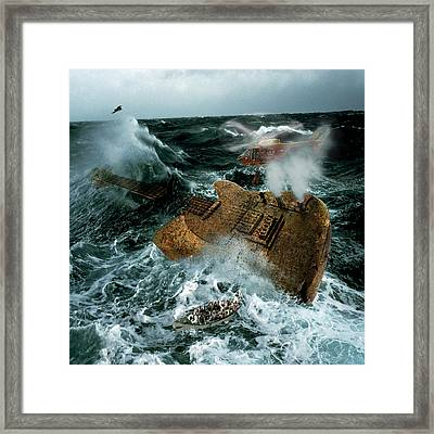 Digital Manipulation Framed Print featuring the digital art Guitarwreck by Marian Voicu