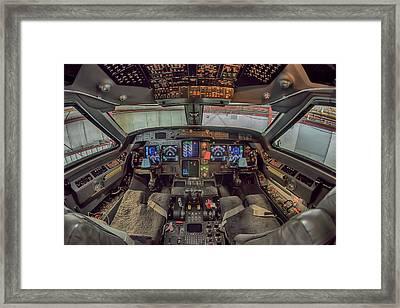 Gulfstream Cockpit Framed Print by Guy Whiteley