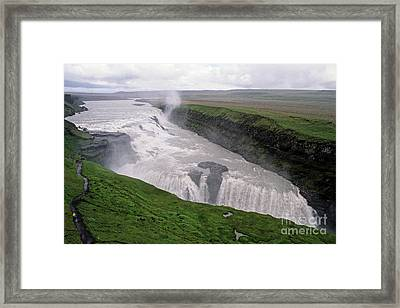 Gullfoss A Powerful Waterfall In The Canyon Of The Hvita River Framed Print by Sami Sarkis