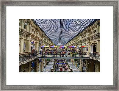 Gum Department Store Interior - Red Square - Moscow Framed Print by Jon Berghoff
