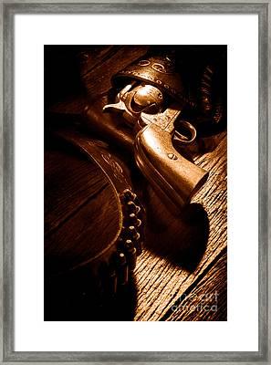 Gunslinger Tool - Sepia Framed Print by Olivier Le Queinec