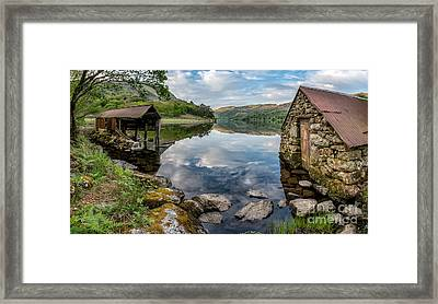 Gwynant Lake Boat House Framed Print by Adrian Evans