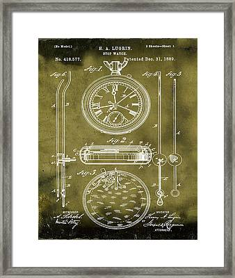 H A Lugrin Stop Watch Patent 1889 In Grunge Framed Print by Bill Cannon