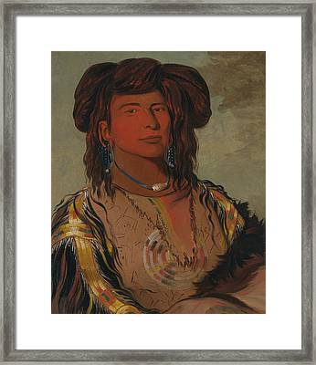 Ha-won-je-tah, One Horn, Head Chief Of The Miniconjou Tribe Framed Print by George Catlin