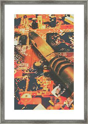 Hacking Knife On Circuit Board Framed Print by Jorgo Photography - Wall Art Gallery