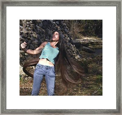 Hair - Long Beautiful Hair-pop Song Art Framed Print by Debbie May