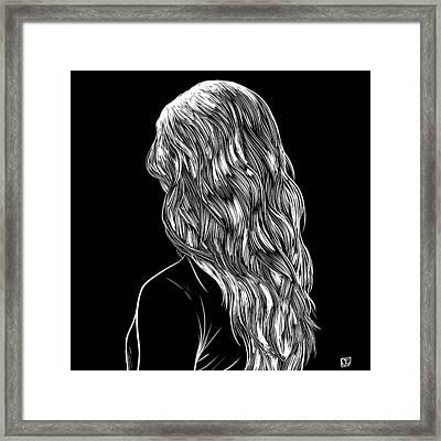 Hair In Black Framed Print by Giuseppe Cristiano