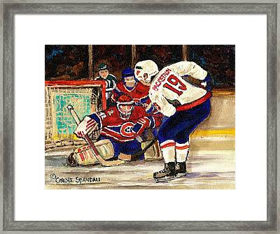 Halak Blocks Backstrom In Stanley Cup Playoffs 2010 Framed Print by Carole Spandau