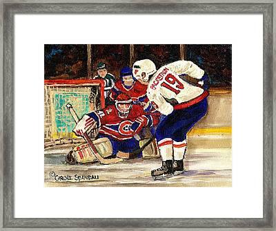 Halak Blocks Backstrom In Stanley Cup Playoffs 2010 Framed Print by Carole Spandau