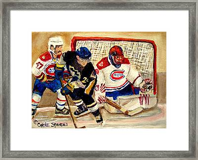 Halak Catches The Puck Stanley Cup Playoffs 2010 Framed Print by Carole Spandau