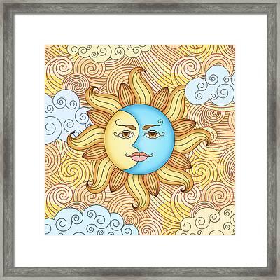 Half Moon And The Sun Framed Print by Bedros Awak