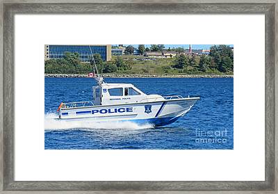Halifax Regional Police Force Harbor Patrol Boat Framed Print by John Malone