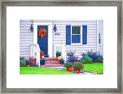 Halloween Decorated Front Door Framed Print by Lanjee Chee