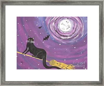 Halloween Flying  Black Cat Framed Print by Jeffrey Koss
